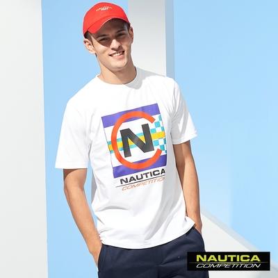Nautica COMPETITION男裝炫彩繽紛LOGO短袖T恤-白