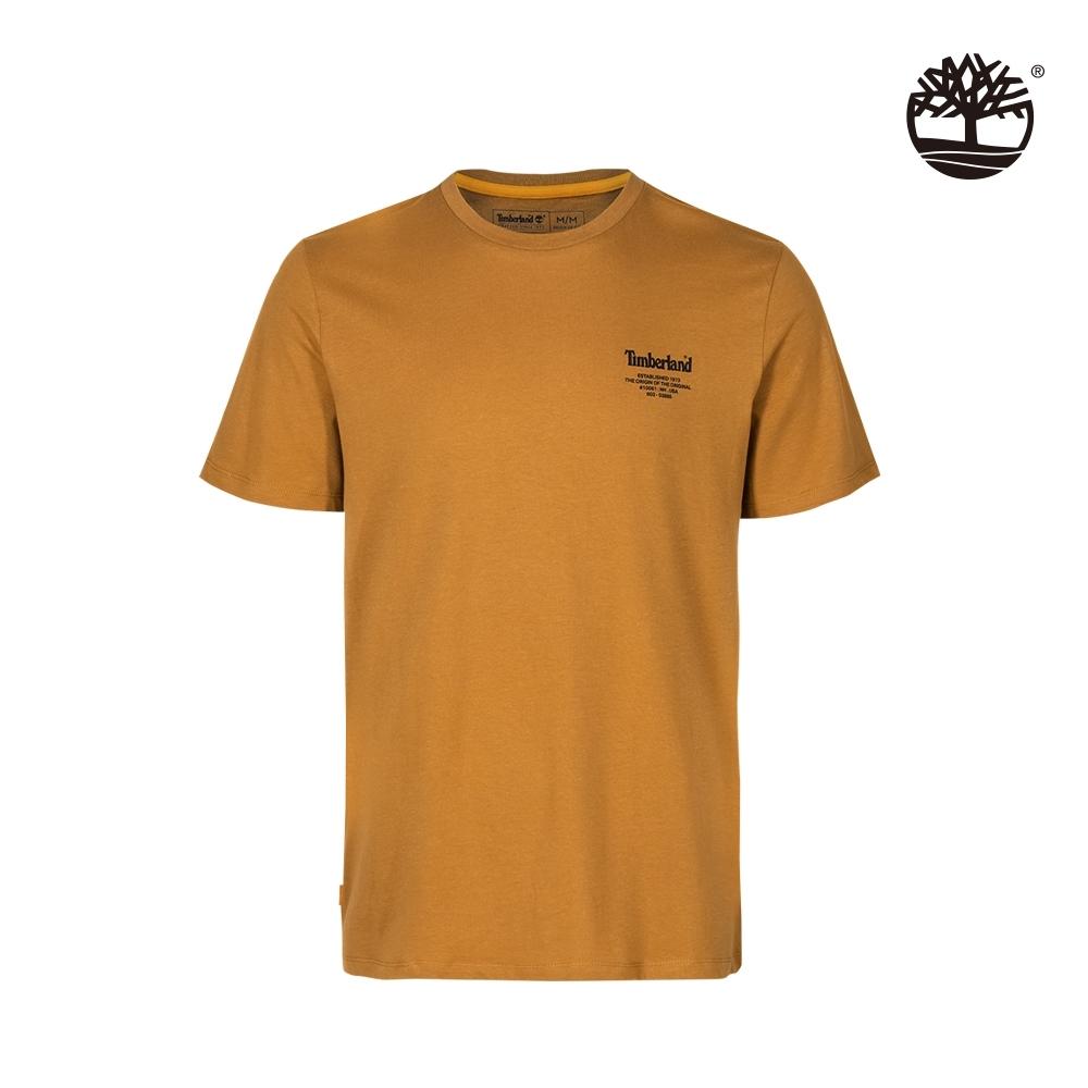 Timberland 男款小麥色背後斜紋LOGO印花短袖T恤|A2D6D