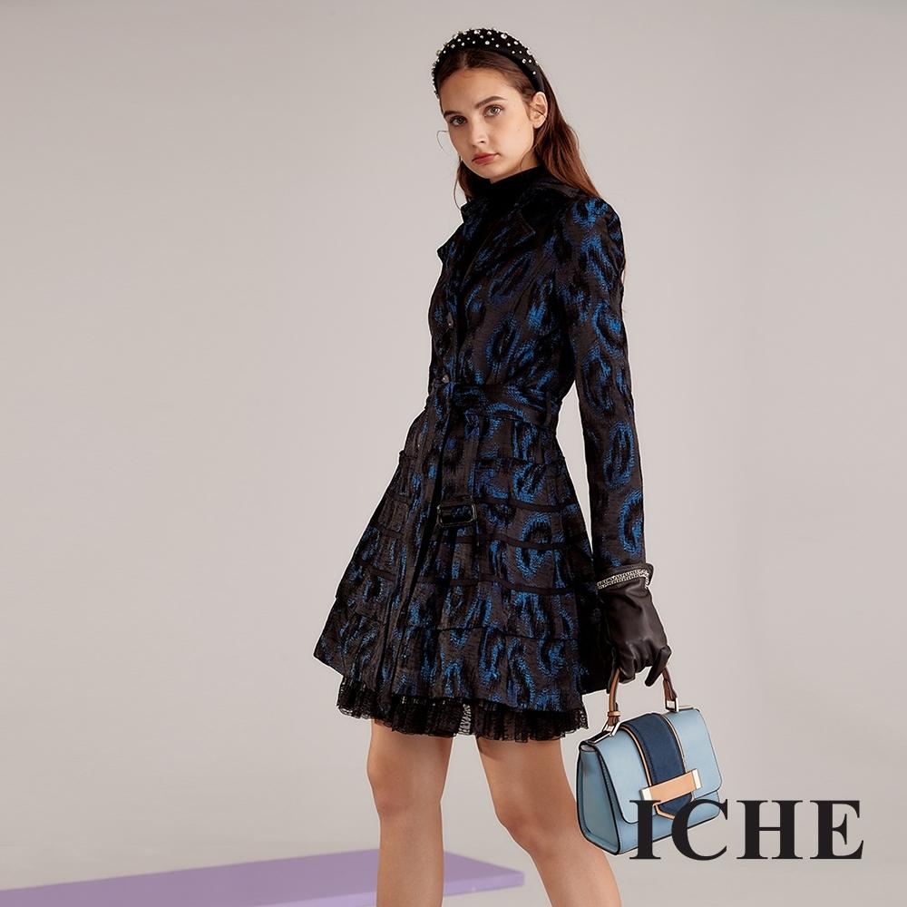 ICHE 衣哲 進口3D立體精緻提花造型外套洋裝(兩穿)-藏藍