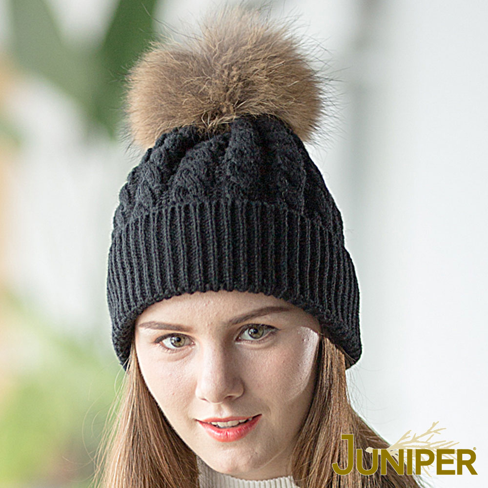 JUNIPER 女款防寒真貉子毛球針織翻邊保暖滑雪毛線冬帽