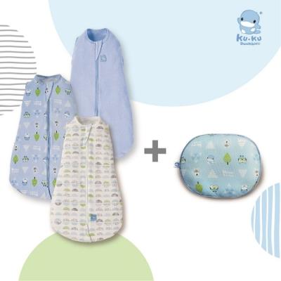 KUKU酷咕鴨 超好眠懶人包巾+3D超透氣初生護頭枕(多款組合任選)