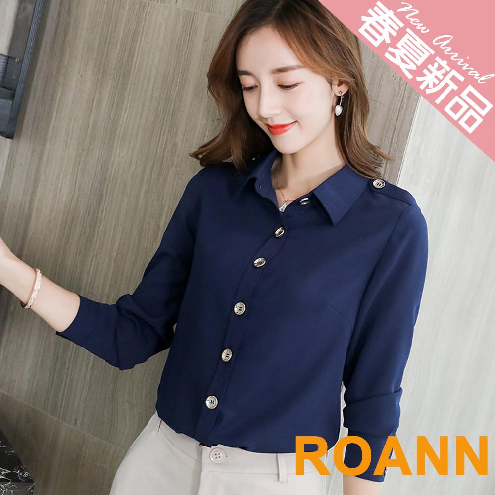 翻領復古鈕扣長袖雪紡襯衫 (共三色)-ROANN