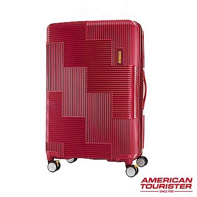AT美國旅行者 30吋Velton 跳色幾何線條可擴充剎車輪行李箱(紅)