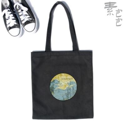 【素包包】浮世繪印花上課裝書旅遊逛街側背袋(4色任選)