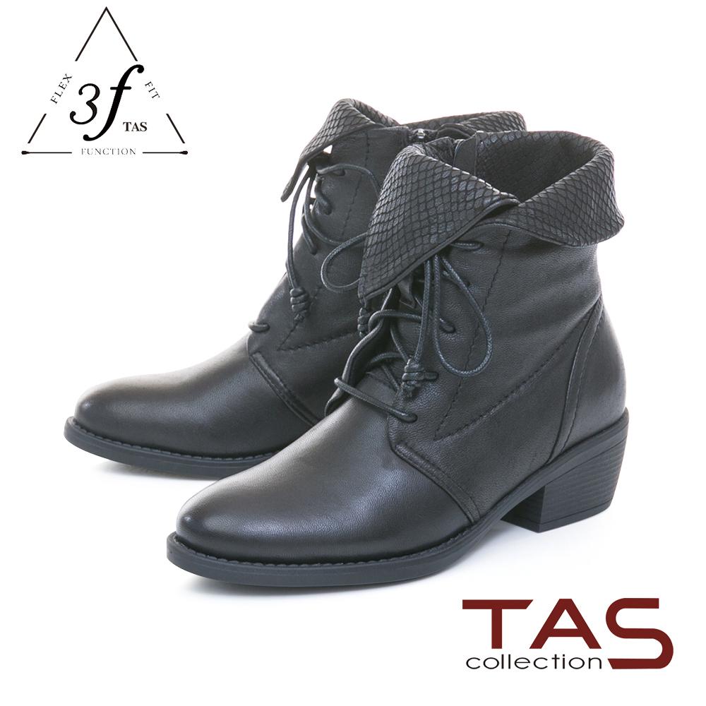 TAS蛇紋翻領蝴蝶結繫帶羊皮粗跟短靴-低調黑
