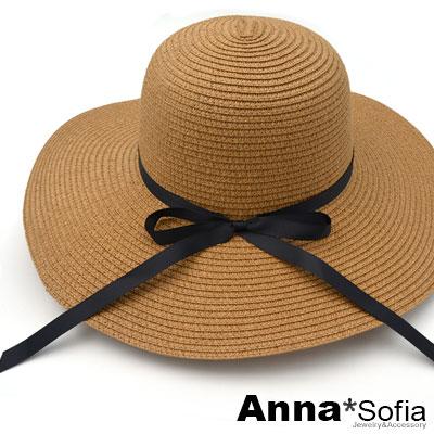 AnnaSofia 寬簷細黑綁帶 遮陽防曬淑女帽草帽(深駝系)