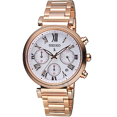SEIKO精工 LUKIA自信光彩太陽能腕錶(SSC834J1)-白面x玫瑰金