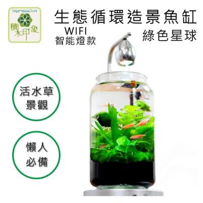 積木印象 活水草生態紓壓懶人魚缸 生態瓶造景系列 (綠色星球 WIFI控制燈款)