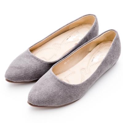 River&Moon韓版微尖頭內增高絨布Q軟底包鞋 質感灰