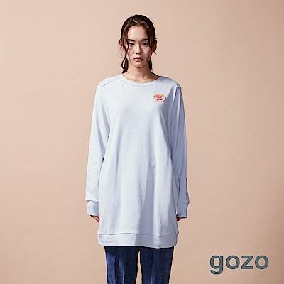 gozo 字母徽章素面長版棉上衣(二色)