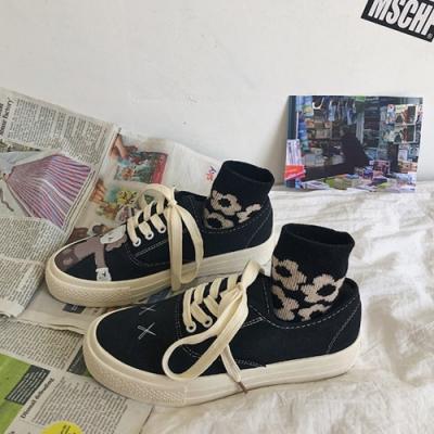 韓國KW美鞋館-話題單品高挑名模獨家平底運動鞋-黑色
