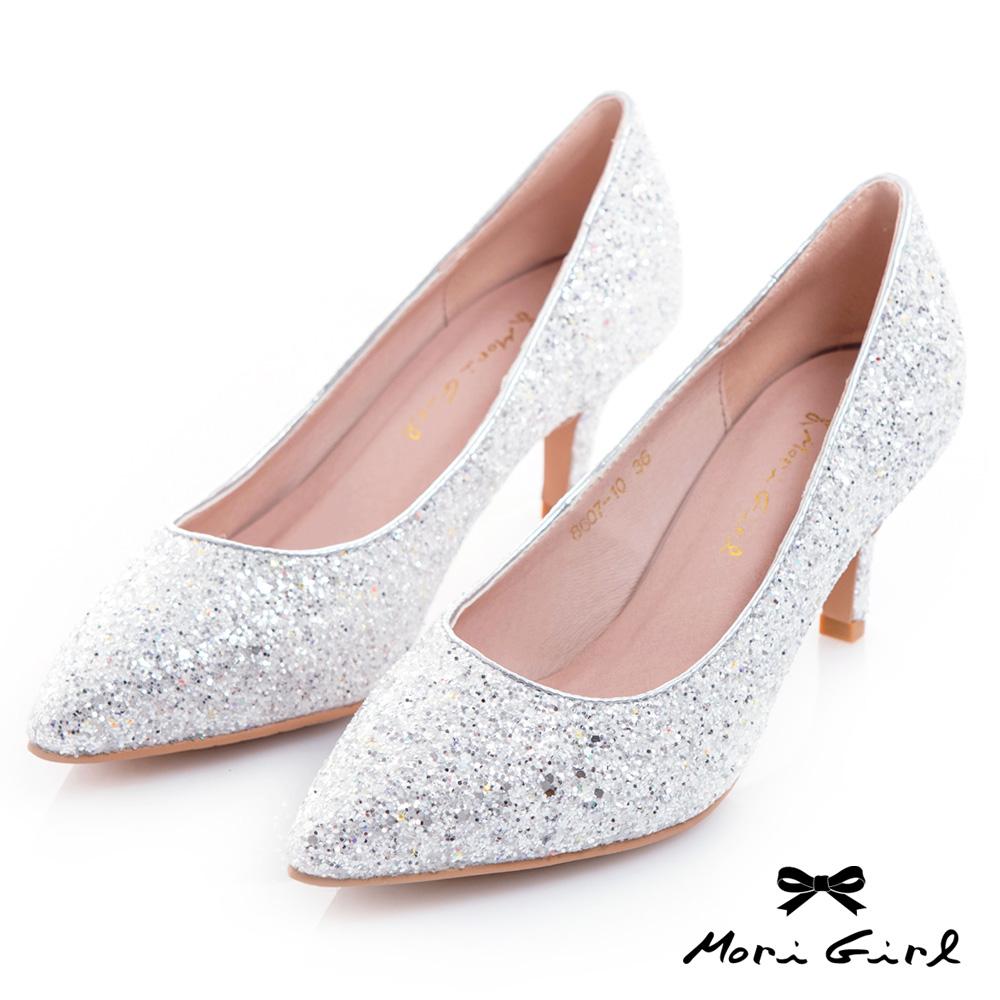 Mori girl修飾款精緻亮片中低跟鞋 銀