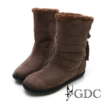 GDC-秋冬必備毛絨可愛流蘇反摺短靴-可可色