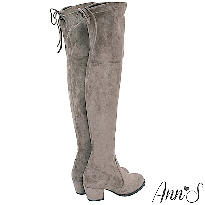 Ann'S鳥仔版-5CM粗跟防滑膠條防水絨布過膝靴-可可