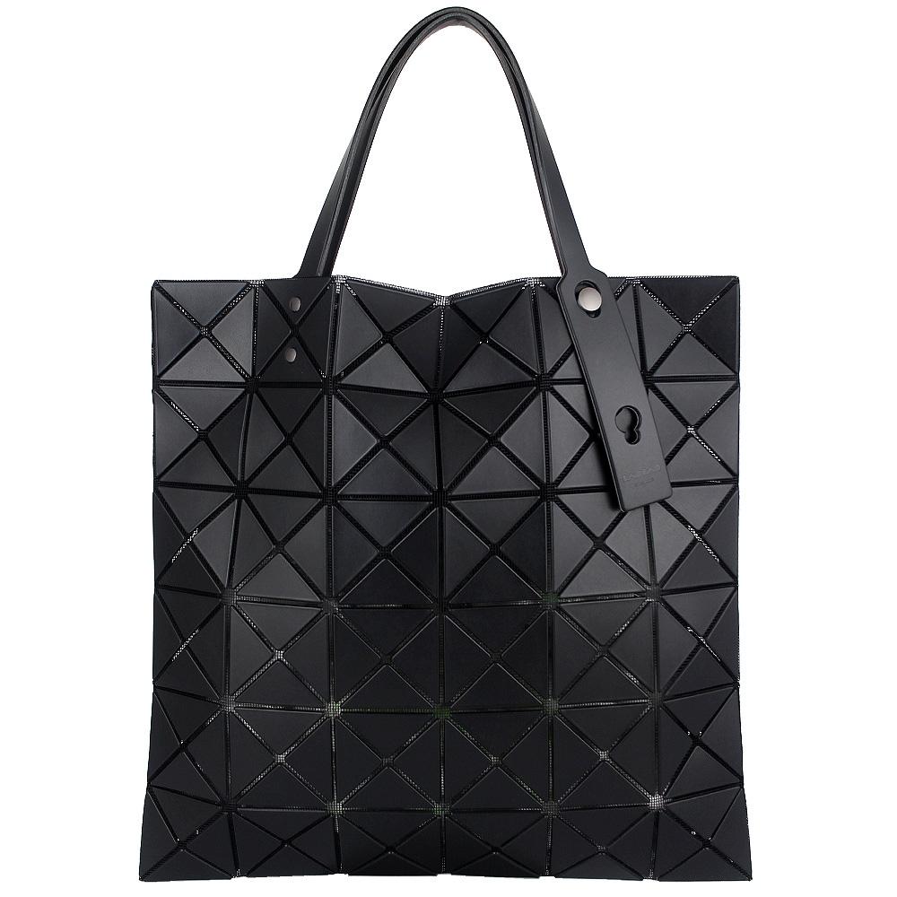 ISSEY MIYAKE 三宅一生BAOBAO 皮質三角格6x6手提包(黑)