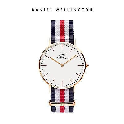 DW 手錶 官方旗艦店 36mm玫瑰金框 Classic 經典藍紅織紋手錶