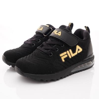 FILA頂級童鞋 針織氣墊運動鞋款 FO08U-009黑(中大童段)