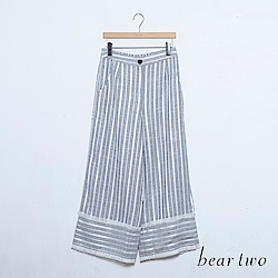 beartwo 簡約直條紋小抽鬚造型寬褲(二色)