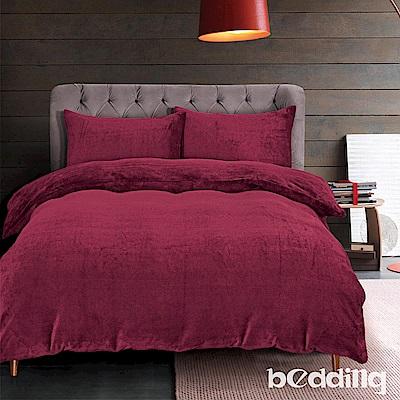 BEDDING-200克波斯絨-單人床包兩用毯被套三件組-初日酒紅