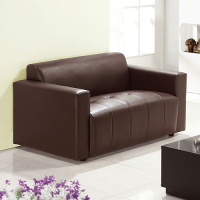 H&D 柏莎雙座咖啡皮沙發