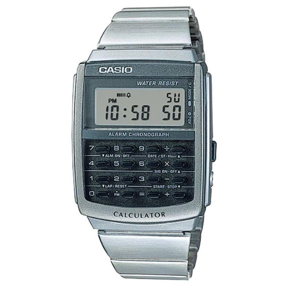 CASIO 復古造型計算機功能不鏽鋼腕錶-(CA-506-1)