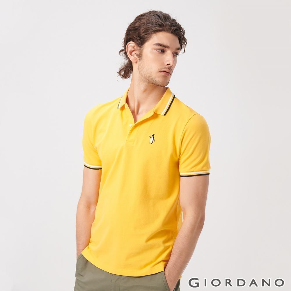 GIORDANO 男裝企鵝刺繡彈力萊卡POLO衫-06 水鮮花黃