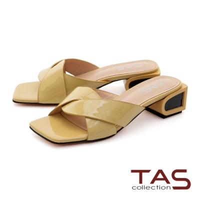 TAS曲線交叉繫帶牛漆皮造型後跟拖鞋-亮麗黃