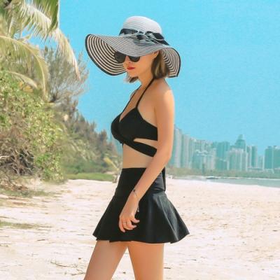 Biki比基尼妮泳衣,伊萊三件式泳衣高腰裙比基尼泳裝(M-2XL)