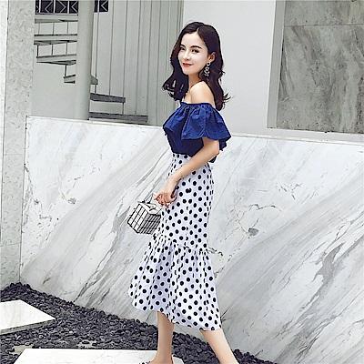DABI 韓國風一字領荷葉袖短袖百搭上衣波點半身裙套裝短袖裙裝