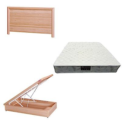綠活居 羅多3.5尺單人床台三式組合(床頭片+後掀床底+抗菌防蹣獨立筒床墊)五色可選