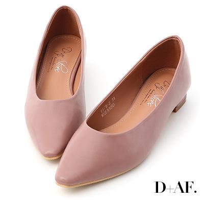 D+AF 純色時尚.素面微尖頭低跟鞋*紫