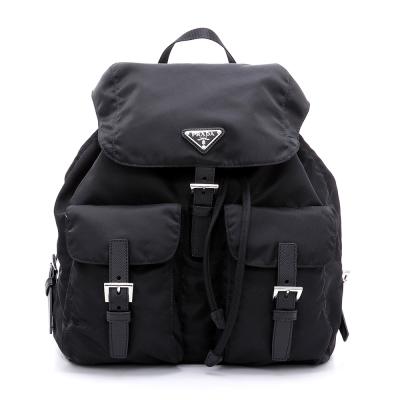 PRADA 經典三角LOGO尼龍帆布束口後背包(黑色)
