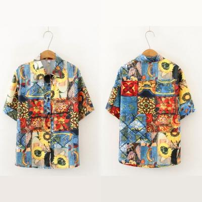 【韓國K.W.】(預購) 特惠款花漾水彩系短袖襯衫上衣