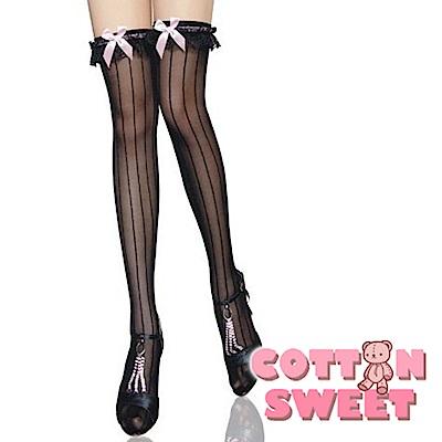 公主風情線條蝴蝶結黑 絲襪 網襪 大腿襪 棉花甜