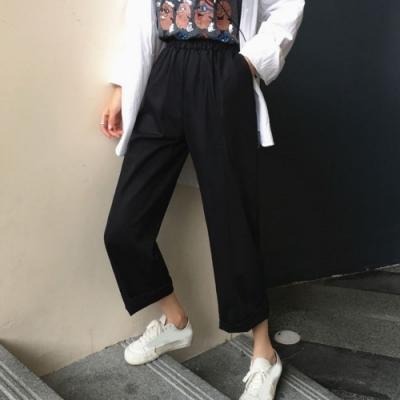 La Belleza素色鬆緊腰中間壓線牛仔棉闊腿褲直筒寬褲
