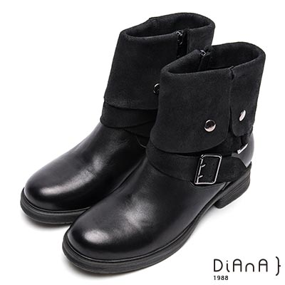 DIANA 獨特焦點—2way雙材質拼接反折方釦工程靴-黑