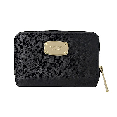 MICHAEL KORS JET SET方牌防刮皮革鑰匙零錢包(黑)