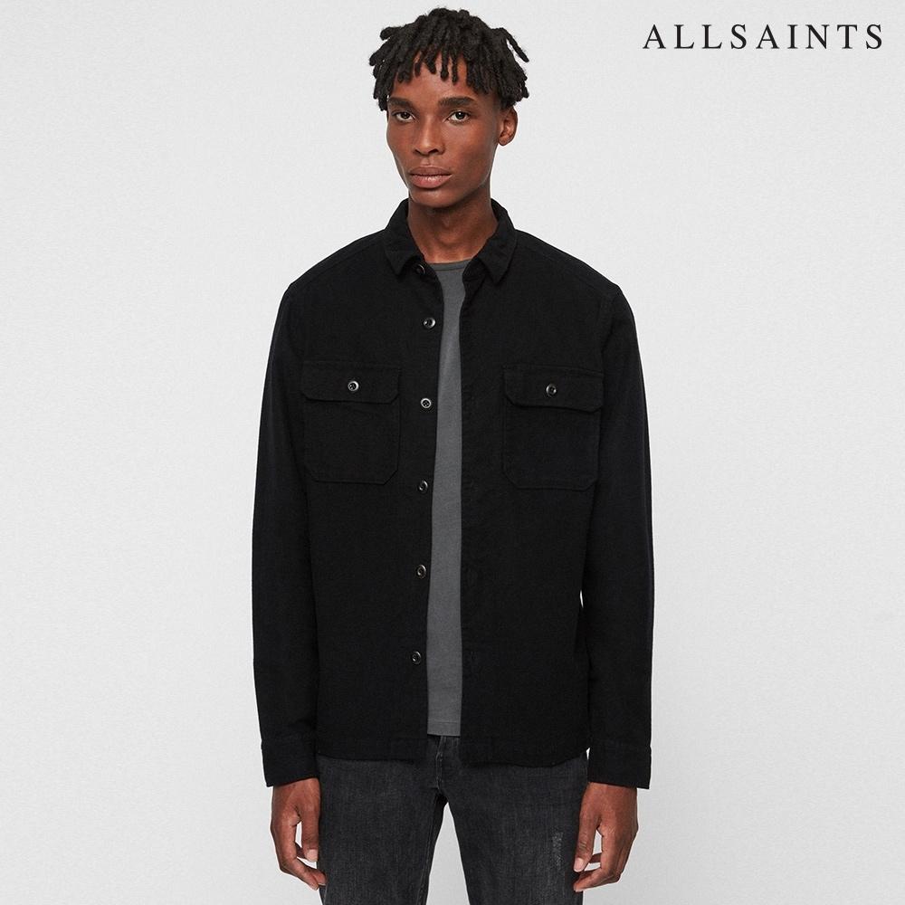ALLSAINTS HUMBOLDT 軍風雙口袋鈕扣造型純棉長袖襯衫-黑