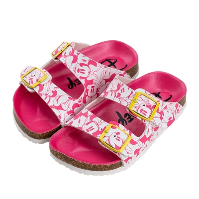 迪士尼童鞋 米妮 復古滿版休閒拖鞋-桃