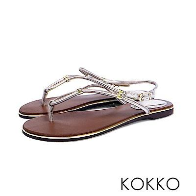 KOKKO  - 波希米亞細帶真皮夾腳平底涼鞋 - 晶燦銀