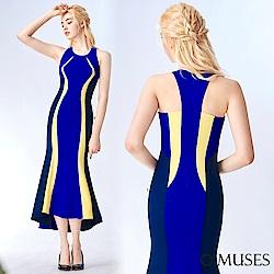 OMUSES 削肩條紋魚尾前短後長禮服