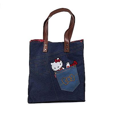 Sanrio HELLO KITTY牛仔布手提袋L(丹寧口袋)