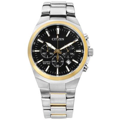 CITIZEN 經典 三眼日期 礦石強化玻璃 防水100米 不鏽鋼手錶-黑x金框/40mm