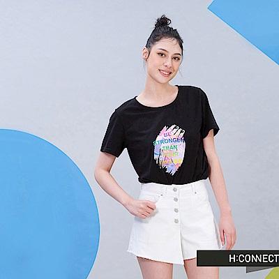 H:CONNECT 韓國品牌 女裝 - 水彩圖樣愛無限T-shirt-黑色