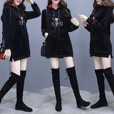 DABI 韓國學院風金絲絨寬松時尚休閒長袖洋裝