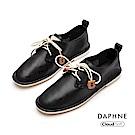達芙妮DAPHNE 休閒鞋-簡約撞色綁帶舒軟休閒鞋-黑色