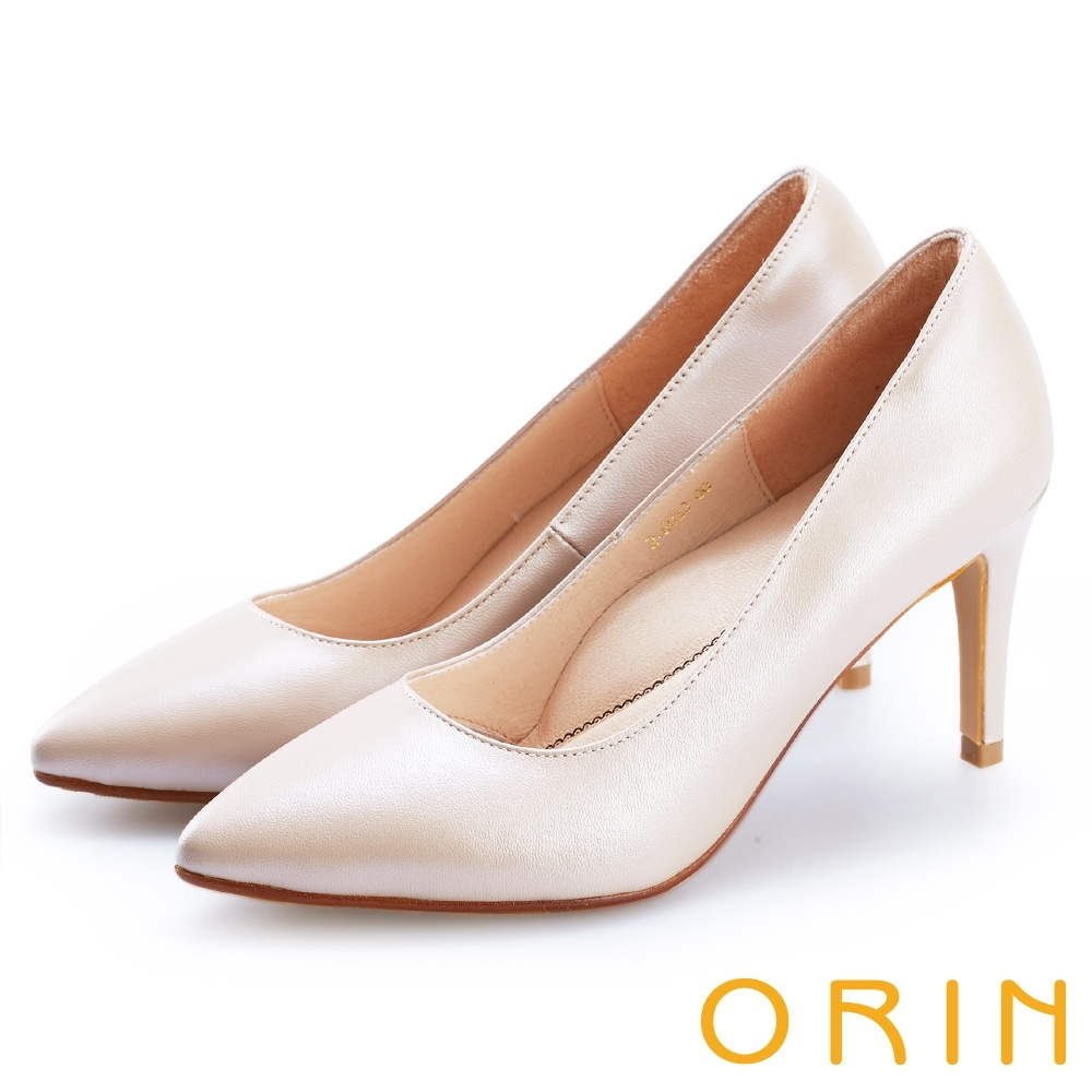 ORIN 典雅氣質 素面羊皮百搭尖頭高跟鞋-裸色