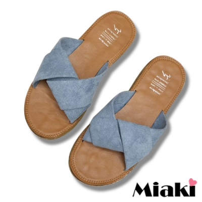 Miaki-拖鞋夏季韓風亮色軟底涼鞋-藍