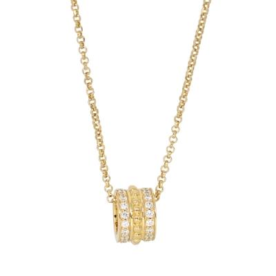 apm MONACO法國精品珠寶 閃耀鑲鋯復古寬版圓弧造型金色可調整項鍊