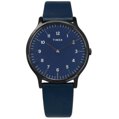 TIMEX 天美時 復刻系列 數字刻度 超薄 礦石強化玻璃 真皮手錶-藍x黑框/40mm